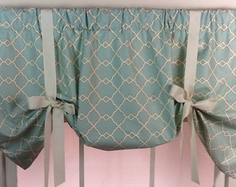 Tieup valance in spa blue with ivory ribbon ties