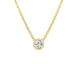0.25 Carat Solitaire Diamond Pendant, Diamond By The Yard Necklace, 14k Yellow Gold Handmade Low Bezel Set