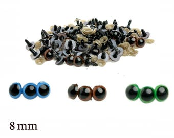 8 mm Safety Eyes - Safety Eyes Blue, Brown, Green with Round Pupil (2 pairs) (5 pairs) (10 pairs)