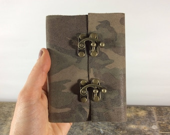 Leather Journal Pocket sized camo travel journal / lined leather journal
