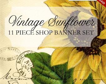Custom Etsy Banner and Avatar Design Set - 11 Piece Vintage Sunflower DIY Template - vsf - Ephemera Flower Vintage Garden Sunflowe