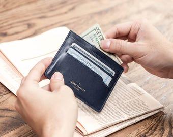 Lightweight Navy Blue Genuine Leather Minimalist Slim Card Wallet