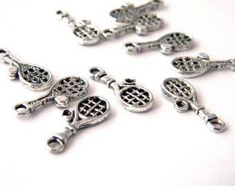 Tennis Racquet Charms Set of 10 Silver Color 18x7mm
