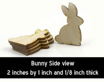 Unfinished Wood Bunny - 2 inches by 1-1/2 inches and 1/8 inch thick wooden shape (BUNY08)