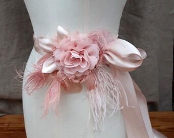 Bridal Sash wedding soft pink pastell belt Flower Sash vintage Bride blush dusky pink Peacock edwardian romantic Bridesmaid peach unique