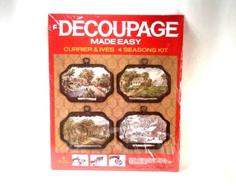 Currier and Ives 4 Seasons Decoupage  Kit 1972