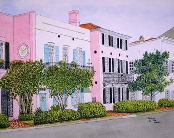 Rainbow Row Charleston SC Print from the Original Watercolor by Michael Joe Moore