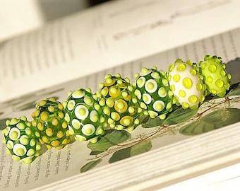 Spring green lampwork hollow beads handmade artisan lampwork glass bead set for jewelry hollow lampwork sra glass beads bubble green beige