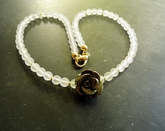 Necklace, white, bride, mountain Crystal, pyrite, Rose, gold, wedding