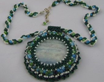 Blue Wave Agate Beaded Cabochon Necklace