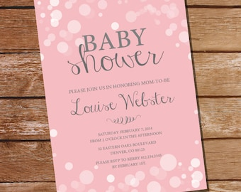 Pretty Pink Baby Shower Invitation in Whites and Pinks - Girl Baby Shower Invitation - Instant Download and Edit with Adobe Reader