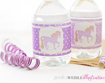 Purple Pony Printable Water Bottle Wrappers, Cowgirl Western Party Bottle Labels, Instant Download, Pony Party Printable, Horse, Western
