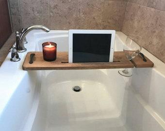 Bathtub Caddy, Bathtub Tray, Bath Tray, Bathroom Accessories , Bathtub Shelf, Bathtub Book holder, Bath Caddy,Bath Board, Natural Stain