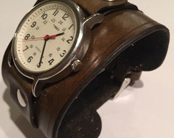 Handmade Antique Dark Brown Men's Leather Watch Cuff Band for Timex Weekender and Expedition and Similar Watches6 Month Wait Time