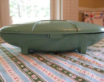 ON SALE - Vintage Singer Buttonholer - Atomic Spaceship in Jadeite Green - Mid-Century