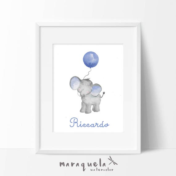 Little ELEPHANT and BLUE balloon Watercolor, nursery decor custom name. Personalized Baby print. Children wall decor, shower boys, kids room