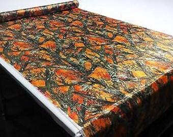 "Hunting Camo True Timber Mc2 Blaze Orange Fabric 58"" Wide Bridal Satin Camouflage"