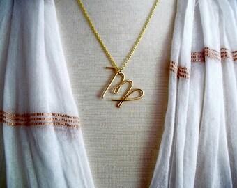 Virgo Zodiac Necklace, Zodiac Necklace, Gold Zodiac Necklace, Zodiac Jewelry