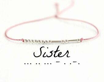 Sister Morse Code Bracelet Custom Morse Code Jewelry Minimalist Best Friend Bracelet Gift Ideas Sterling Silver Silk Cord Bracelet