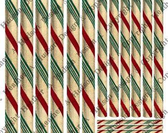 Vintage Candy Canes Candycanes peppermint sticks Tags Ephemera Ornaments Digital Collage sheet Printable  Shabby Chic Christmas