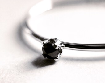 Black Diamond Ring, Genuine Diamond Ring, Black Diamond, Slim Ring, Minimalist Ring, Gift, Gemstone Ring, Tiny Diamond Ring, Diamond Ring