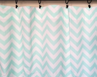 Sale! Mint Chevron Curtain Panels. READY TO SHIP 50 X 63 Inches Set Window Treatments. Drapery Curtains.
