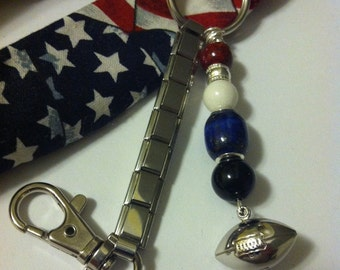 Football Keychain Men's Sports Gift Patriot's Team Colors Handmade and Vintage Silver Football Keychain Car Truck Accessory Gift for Him