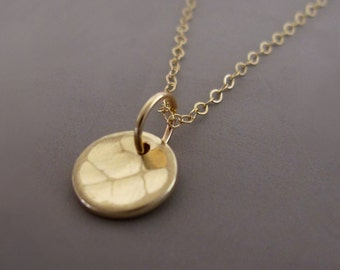 """14k Yellow Gold Necklace Hand Hammered Recycled Gold 5/16"""" Free Shipping"""