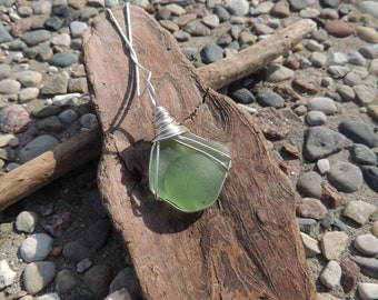 Light Green Kick Up Wire Wrapped Sea Glass Necklace, Pendant, Genuine Sea Glass