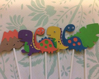 12 Bright & Colorful Detailed Dinosaur Cupcake toppers