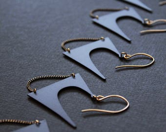 Unique matte black earrings edgy unusual earrings big statement earrings modern black jewelry large dangle earrings gold brass -Zoe Earrings