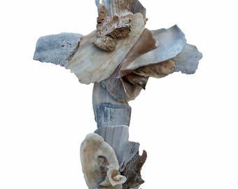 Wedding Cross, Seashell Cross sculptured from natural seashells original seashell Crucifix religious wall art beach wedding gift creative