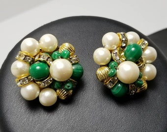 Green Glass & Faux Pearl Earrings