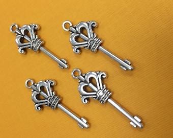 6 Key Charms, Key Pendants, Key Charm, Key Pendant, Antique Silver Key Charms, Antique Silver Key Pendants, Antique Silver Key Pendant, Keys