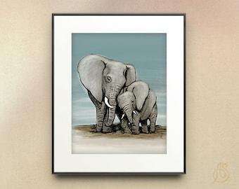 Elephant nursery art print // Mom and baby // wall art // 8x10 11x14