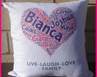 INTRODUCTORY PRICE Personalised Cushion Covers- Word Cloud (Heart)