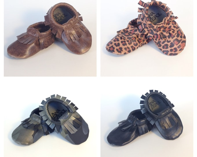 Featured listing image: Children's Leather Moccasins-Fringed moccasins- Handmade- Custom Slippers