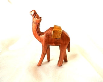 CAMEL-Wooden handcrafted camel made of olive wood in Bethlehem, hand painted by me.