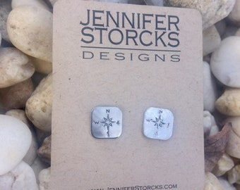 Hand Stamped Earrings Stud Earrings Sterling Silver Stud Earrings Compass Earrings Gifts For Her Jewelry Under 50 Custom Stamped Earrings
