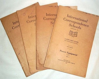 International Correspondence Schools ICS 4 Part Instruction Booklets From 1920's POWER EQUIPMENT