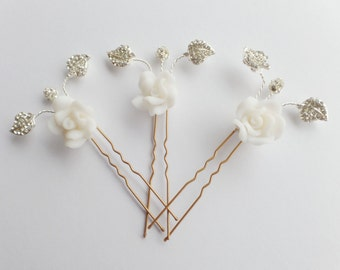 Bridal Crystal Hairpin, Crystal Rhinestone, Hair Accessory, Diamanté Wedding Hairpin, Ivory Flower Bridesmaid Hairpin,  Flora