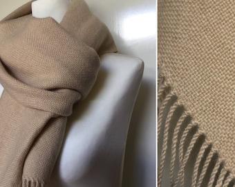 Beige cashmere blanket scarf Hand woven scarf Beige wedding shawl, Oversized stole, Winter blanket scarf, winter bride beige