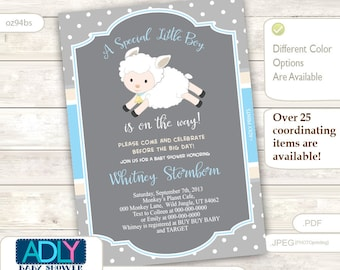Boy Lamb Baby Shower Invitation for a Boy Baby Shower, Printable Sheep/Lamb Card, blue,grey, beige INSTANT DOWNLOAD- oz94bs