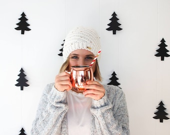 Black and White Photo Booth Prop, Holiday Party Photo Booth, Woodland Backdrop, Black Tree Garland, Neutrals Christmas Party Decorations