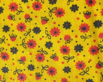 Vintage Cotton Fabric - Small Print Floral - Yellow Calico Fabric with Red and Black Flowers - Quilting Fabric