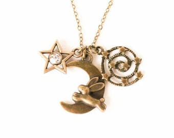 Clearance sale Bunny over the moon crystal star and milky way charm necklace