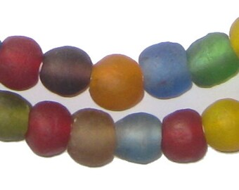 50 Recycled Glass Beads - Multicolor African Beads - 11mm Round Beads - Fair Trade - Made in Africa (RCY-RND-MIX-655)