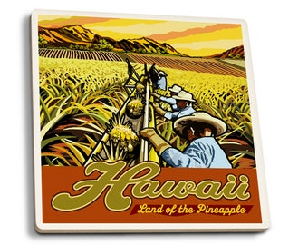 HI - Pineapple Harvest - LP Artwork (Set of 4 Ceramic Coasters)