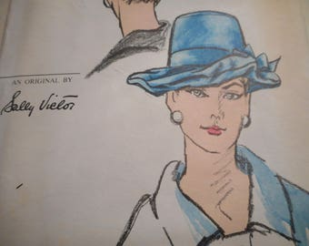 Vintage 1960's Vogue 5991 Sally Victor Hat Sewing Pattern Size 21.5