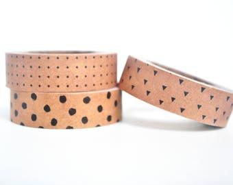 Polka Dots Kraft v2 Washi Tape, Kraft Masking Tape - WT472